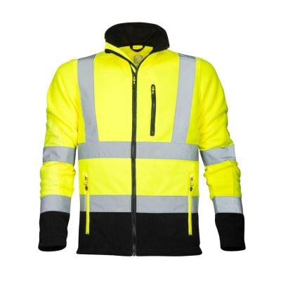 bluza fleece reflectorizanta signal galben