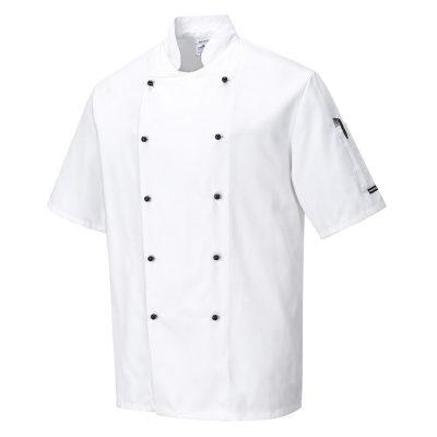 bluza cu maneca scurta pentru bucatari kent chefs alb