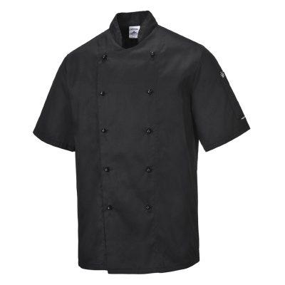 bluza cu maneca scurta pentru bucatari kent chefs negru