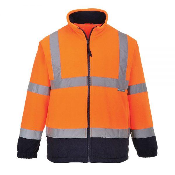 fleece reflectorizant in doua tonuri portocaliu