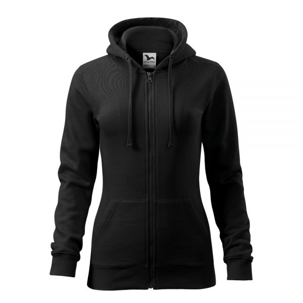 hanorac de dama trendy zipper negru