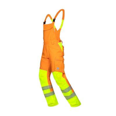pantaloni reflectorizanti cu pieptar signal portocaliu