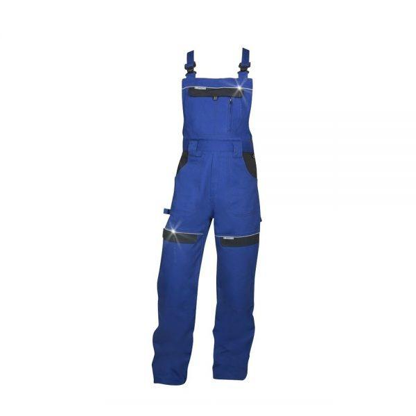 pantaloni salopeta cu pieptar cool trend albastru cu negru