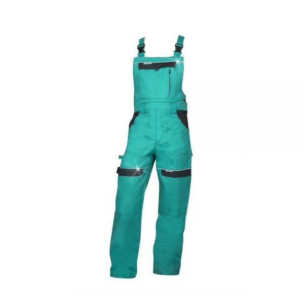 pantaloni salopeta cu pieptar cool trend verde cu negru