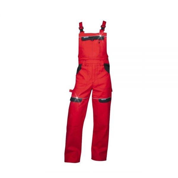 pantaloni salopeta cu pieptar cool trend rosu cu negru