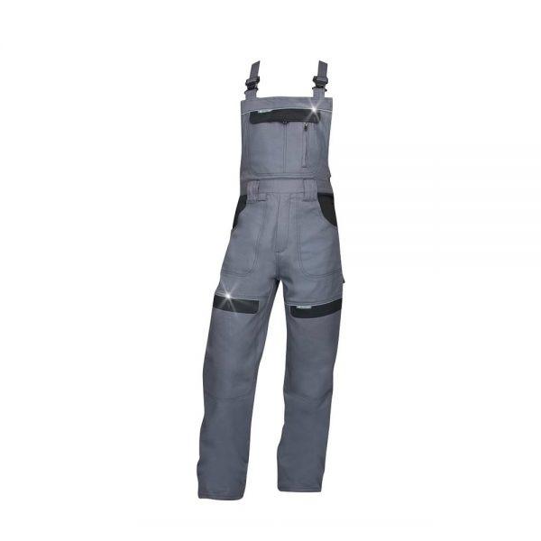 pantaloni salopeta cu pieptar cool trend gri cu negru