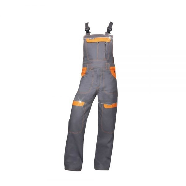 pantaloni salopeta cu pieptar cool trend gri cu portocaliu