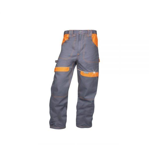 pantaloni salopeta talie cool trend gri cu portocaliu