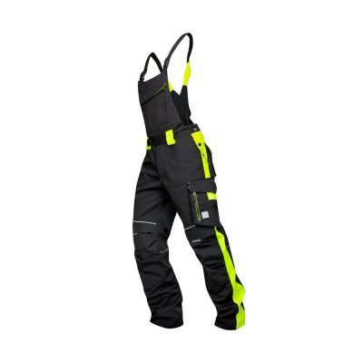 pantaloni de salopeta cu pieptar neon galben