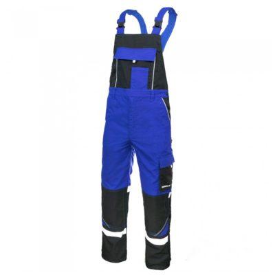 pantaloni de salopeta cu pieptar si benzi reflectorizante professional albastru