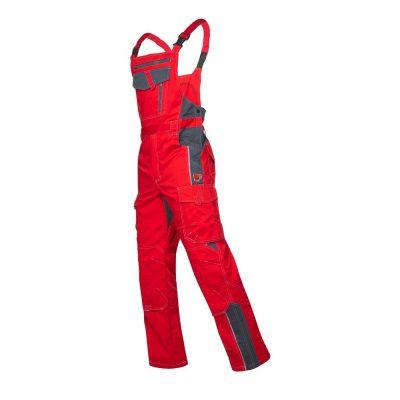 pantaloni de salopeta cu pieptar vision rosu, pantaloni de lucru, culoare rosu cu negru