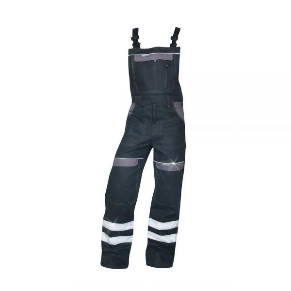 pantaloni salopeta cu pieptar reflectorizanti cool trend negru