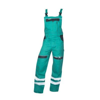 pantaloni salopeta cu pieptar reflectorizanti cool trend verde