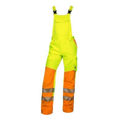 pantaloni salopeta reflectorizanti cu pieptar signal galben