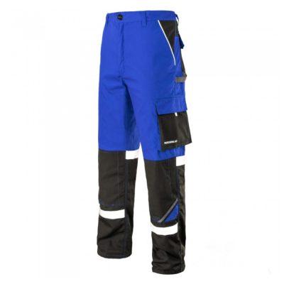 pantaloni de salopeta in talie cu benzi reflectorizante professional albastru