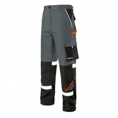 pantaloni de salopeta in talie cu benzi reflectorizante professional gri